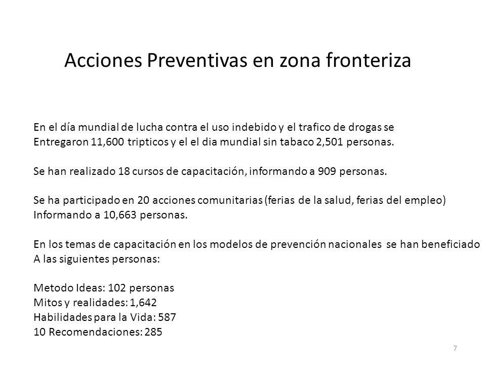 7 Acciones Preventivas en zona fronteriza En el día mundial de lucha contra el uso indebido y el trafico de drogas se Entregaron 11,600 tripticos y el