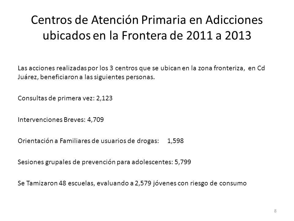 Centros de Atención Primaria en Adicciones ubicados en la Frontera de 2011 a 2013 Las acciones realizadas por los 3 centros que se ubican en la zona f