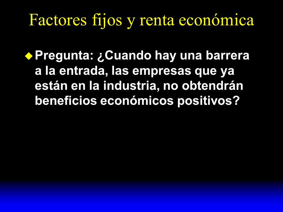 Factores fijos y renta económica Pregunta: ¿Cuando hay una barrera a la entrada, las empresas que ya están en la industria, no obtendrán beneficios económicos positivos
