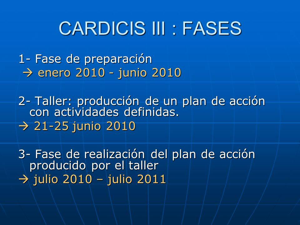 CARDICIS III : FASES 1- Fase de preparación enero 2010 - junio 2010 enero 2010 - junio 2010 2- Taller: producción de un plan de acción con actividades