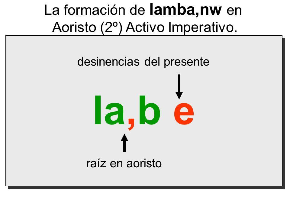 la,b e raíz en aoristo desinencias del presente La formación de lamba,nw en Aoristo (2º) Activo Imperativo.