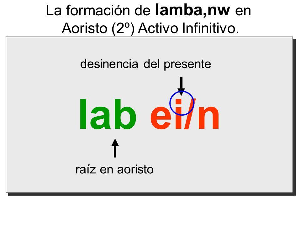 lab ei/n raíz en aoristo desinencia del presente La formación de lamba,nw en Aoristo (2º) Activo Infinitivo.