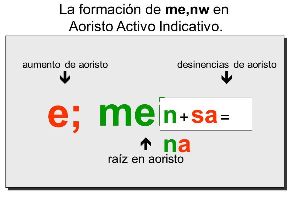 mein raíz en aoristo La formación de me,nw en Aoristo Activo Indicativo. aumento de aoristo e; desinencias de aoristo sa n + sa = na