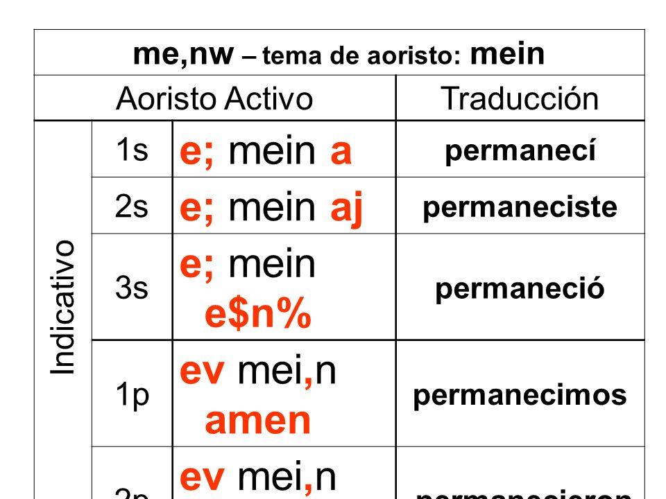 me,nw – tema de aoristo: mein Aoristo ActivoTraducción 1s e; mein a permanecí 2s e; mein aj permaneciste 3s e; mein e$n% permaneció 1p ev mei,n amen p