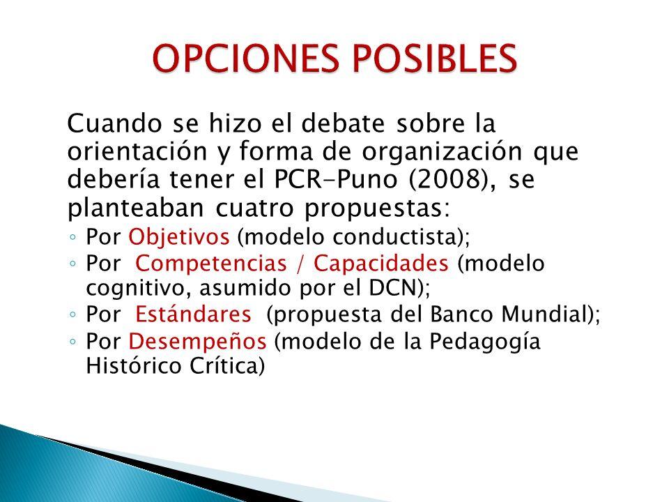 Cuando se hizo el debate sobre la orientación y forma de organización que debería tener el PCR-Puno (2008), se planteaban cuatro propuestas: Por Objet