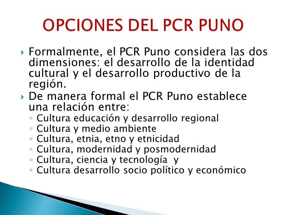 Formalmente, el PCR Puno considera las dos dimensiones: el desarrollo de la identidad cultural y el desarrollo productivo de la región. De manera form
