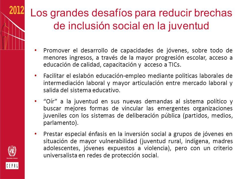 Los grandes desafíos para reducir brechas de inclusión social en la juventud Promover el desarrollo de capacidades de jóvenes, sobre todo de menores i