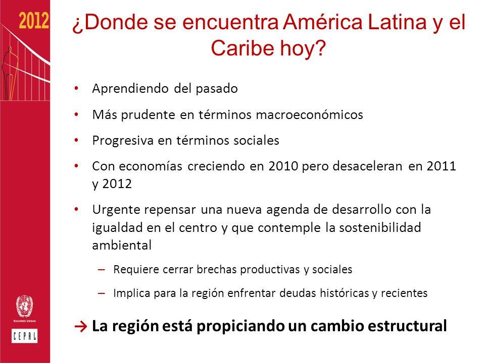 ¿Donde se encuentra América Latina y el Caribe hoy? Aprendiendo del pasado Más prudente en términos macroeconómicos Progresiva en términos sociales Co