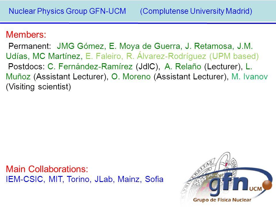 Nuclear Physics Group GFN-UCM (Complutense University Madrid) Members: Permanent: JMG Gómez, E. Moya de Guerra, J. Retamosa, J.M. Udías, MC Martínez,