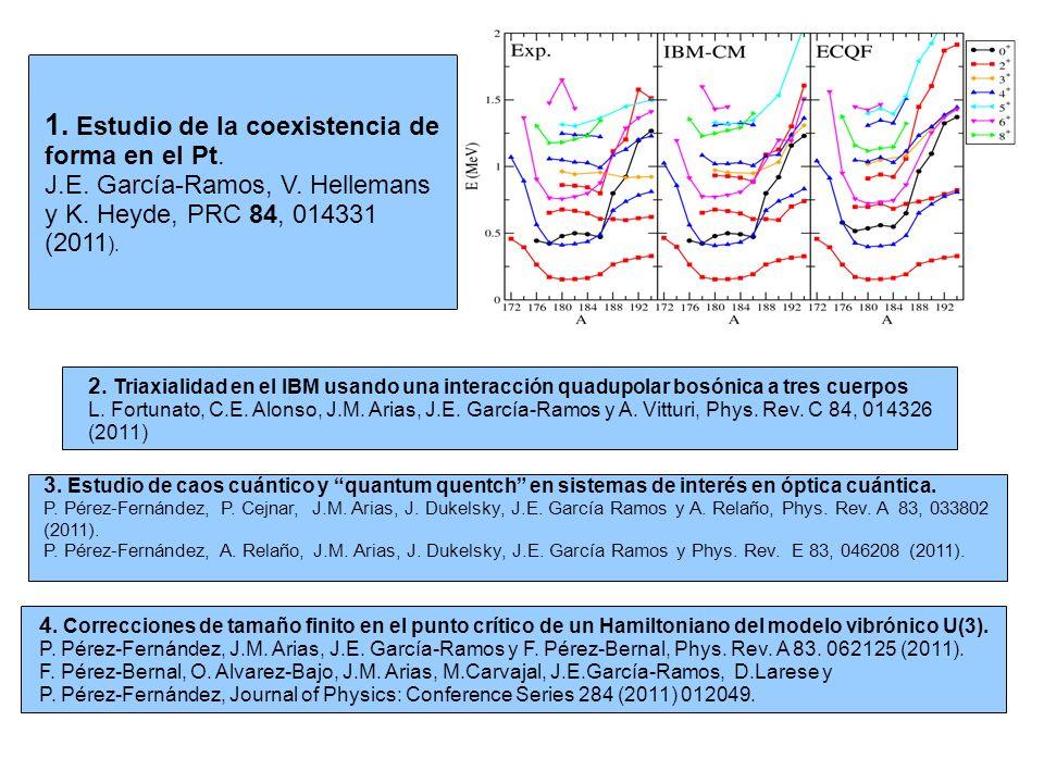 1. Estudio de la coexistencia de forma en el Pt. J.E. García-Ramos, V. Hellemans y K. Heyde, PRC 84, 014331 (2011 ). 2. Triaxialidad en el IBM usando