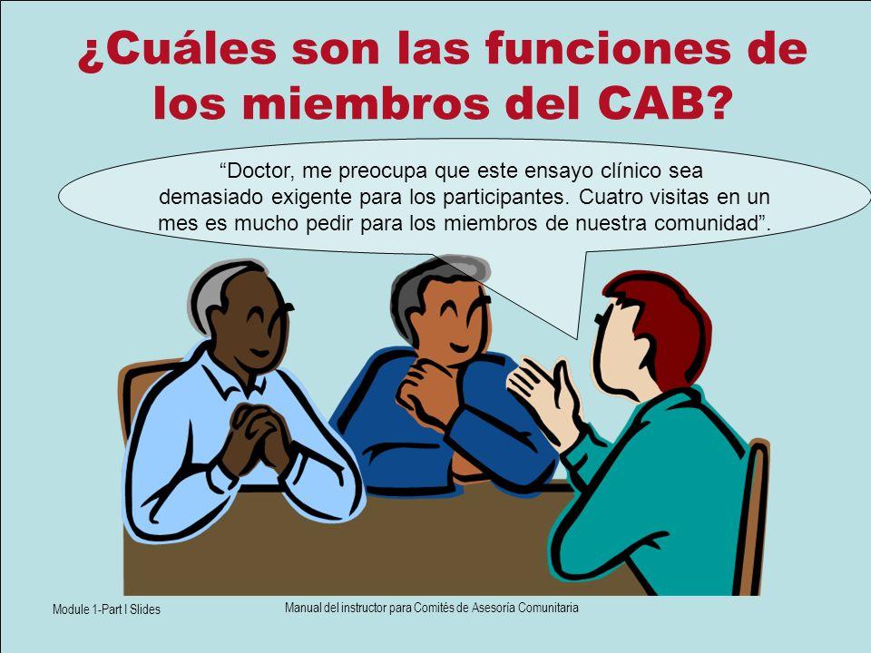 Module 1-Part I Slides Manual del instructor para Comités de Asesoría Comunitaria ¿Cuáles son las funciones de los miembros del CAB? Doctor, me preocu