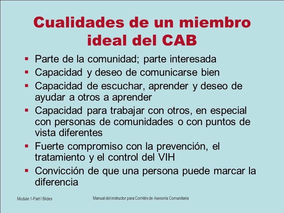 Module 1-Part I Slides Manual del instructor para Comités de Asesoría Comunitaria Cualidades de un miembro ideal del CAB Parte de la comunidad; parte