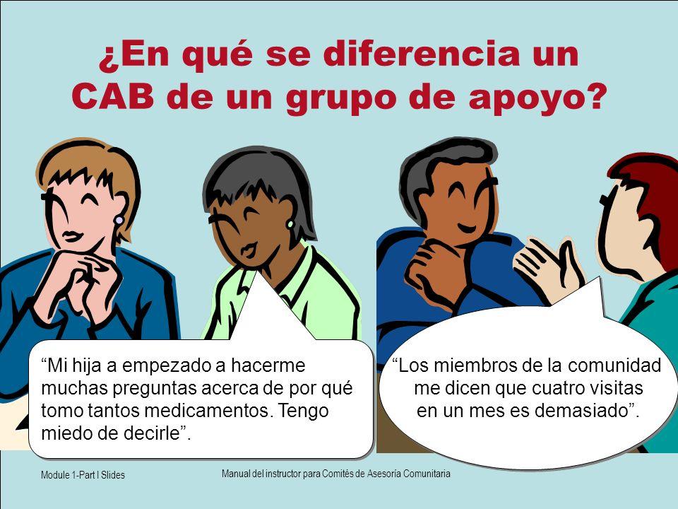 Module 1-Part I Slides Manual del instructor para Comités de Asesoría Comunitaria ¿En qué se diferencia un CAB de un grupo de apoyo? Los miembros de l