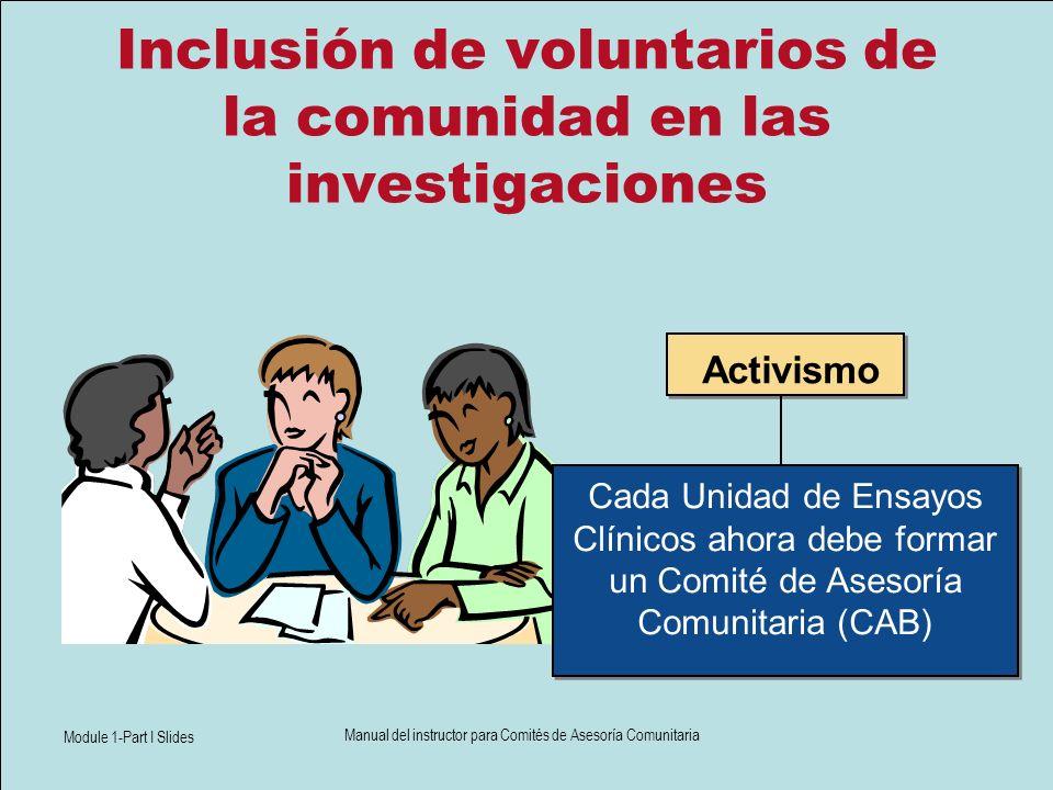 Module 1-Part I Slides Manual del instructor para Comités de Asesoría Comunitaria Inclusión de voluntarios de la comunidad en las investigaciones Cada
