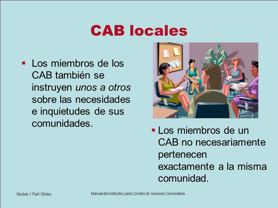 Module 1-Part I Slides Manual del instructor para Comités de Asesoría Comunitaria CAB locales Los miembros de los CAB también se instruyen unos a otro