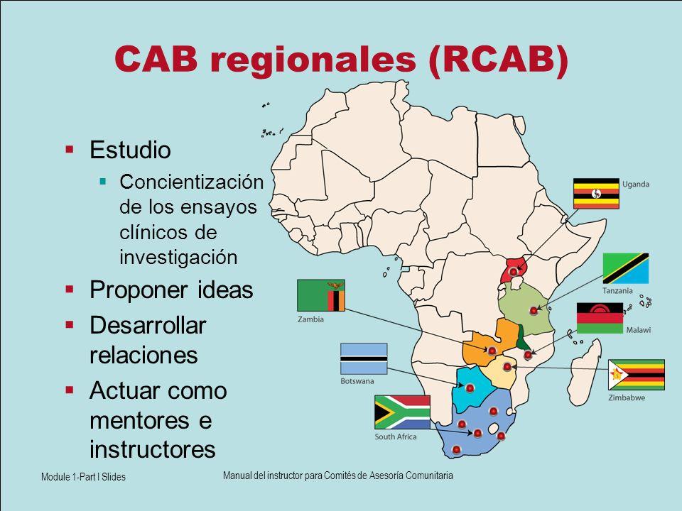 Module 1-Part I Slides Manual del instructor para Comités de Asesoría Comunitaria CAB regionales (RCAB) Estudio Concientización de los ensayos clínico