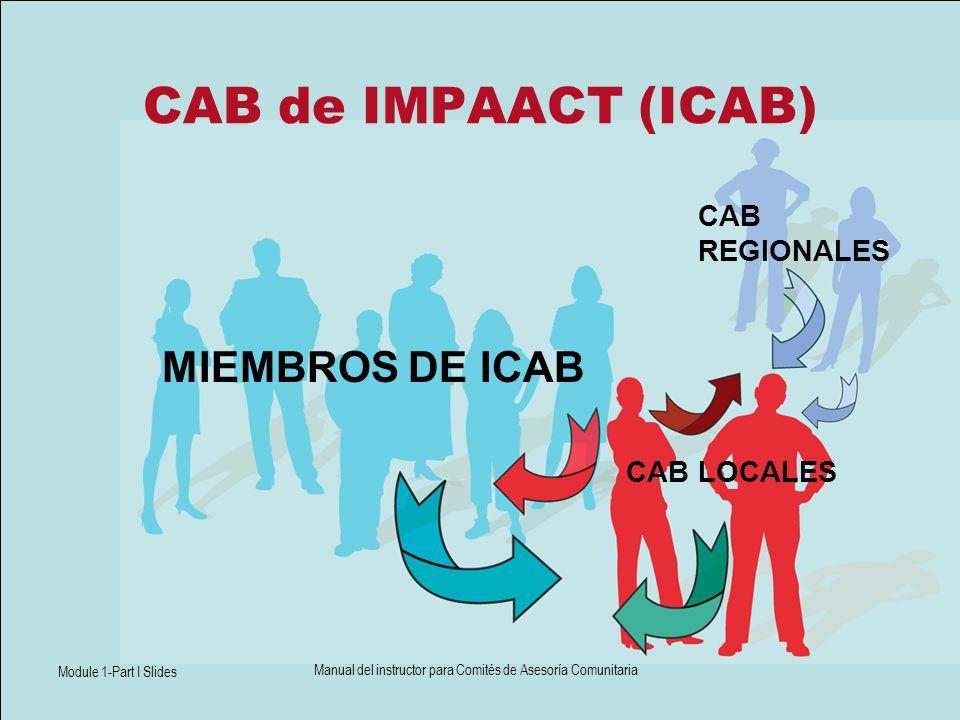 Module 1-Part I Slides Manual del instructor para Comités de Asesoría Comunitaria CAB de IMPAACT (ICAB) MIEMBROS DE ICAB CAB REGIONALES CAB LOCALES