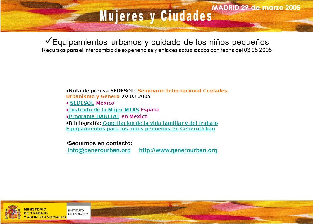 MADRID 29 de marzo 2005 Equipamientos urbanos y cuidado de los niños pequeños Recursos para el intercambio de experiencias y enlaces actualizados con