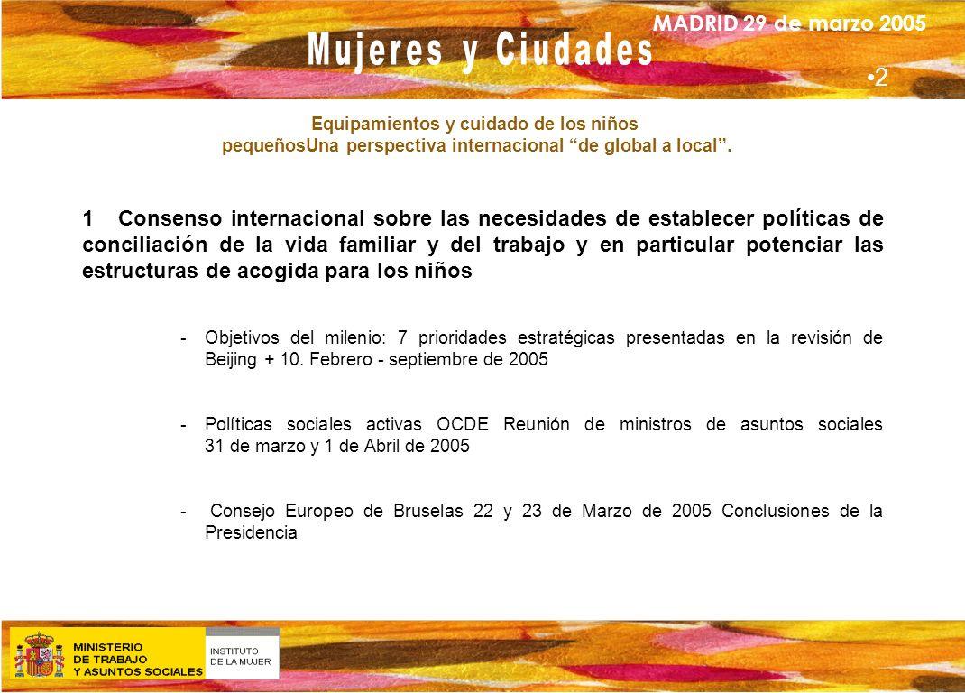 MADRID 29 de marzo 2005 Equipamientos y cuidado de los niños pequeñosUna perspectiva internacional de global a local. 1 Consenso internacional sobre l