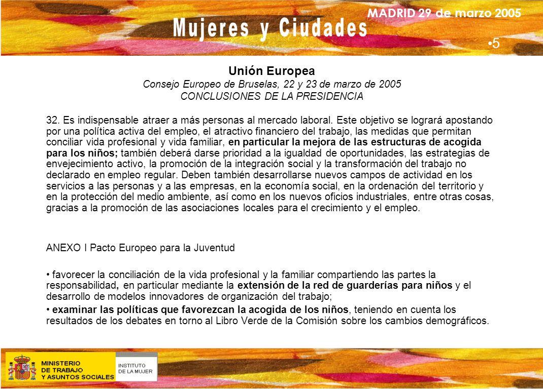 MADRID 29 de marzo 2005 Unión Europea Consejo Europeo de Bruselas, 22 y 23 de marzo de 2005 CONCLUSIONES DE LA PRESIDENCIA 32. Es indispensable atraer