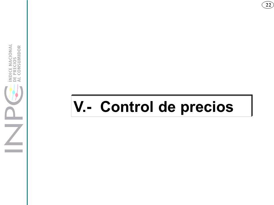 22 V.- Control de precios