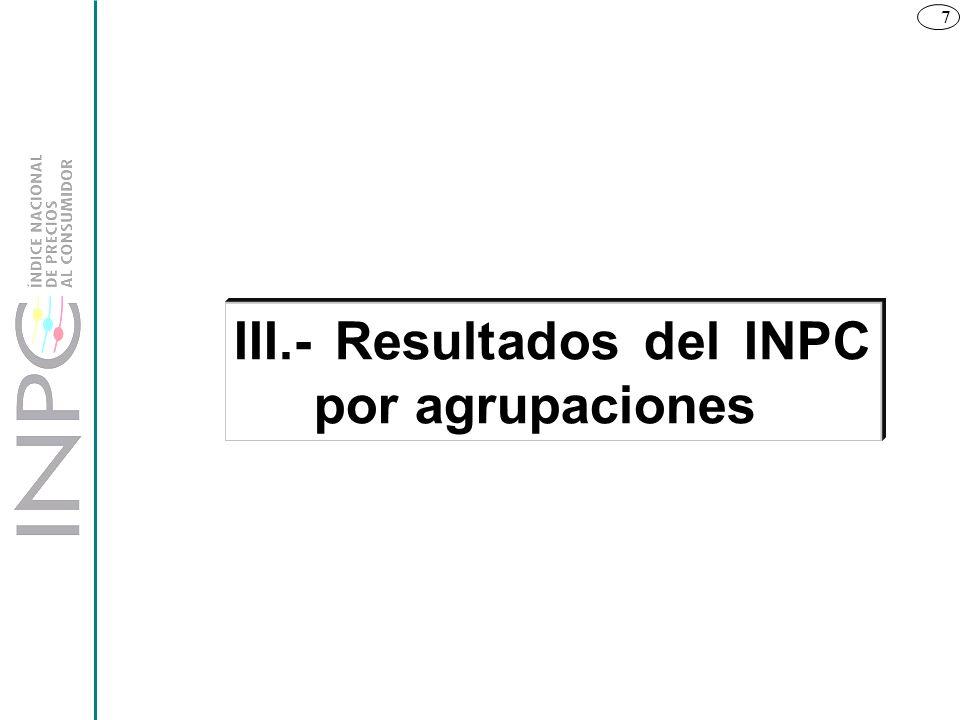 7 III.- Resultados del INPC por agrupaciones