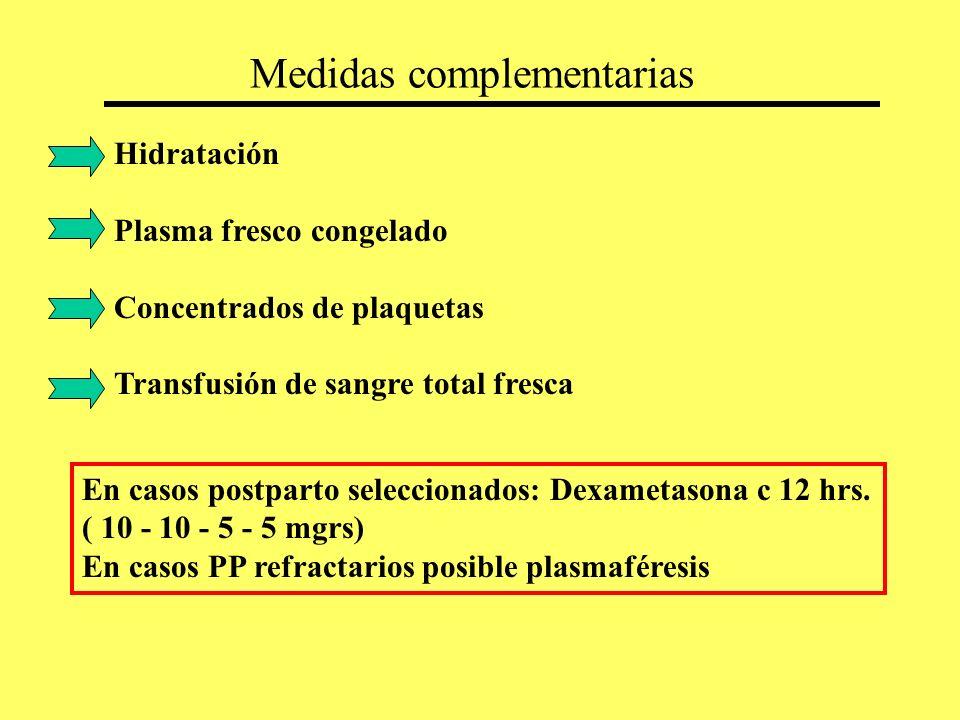 Medidas complementarias Hidratación Plasma fresco congelado Concentrados de plaquetas Transfusión de sangre total fresca En casos postparto selecciona