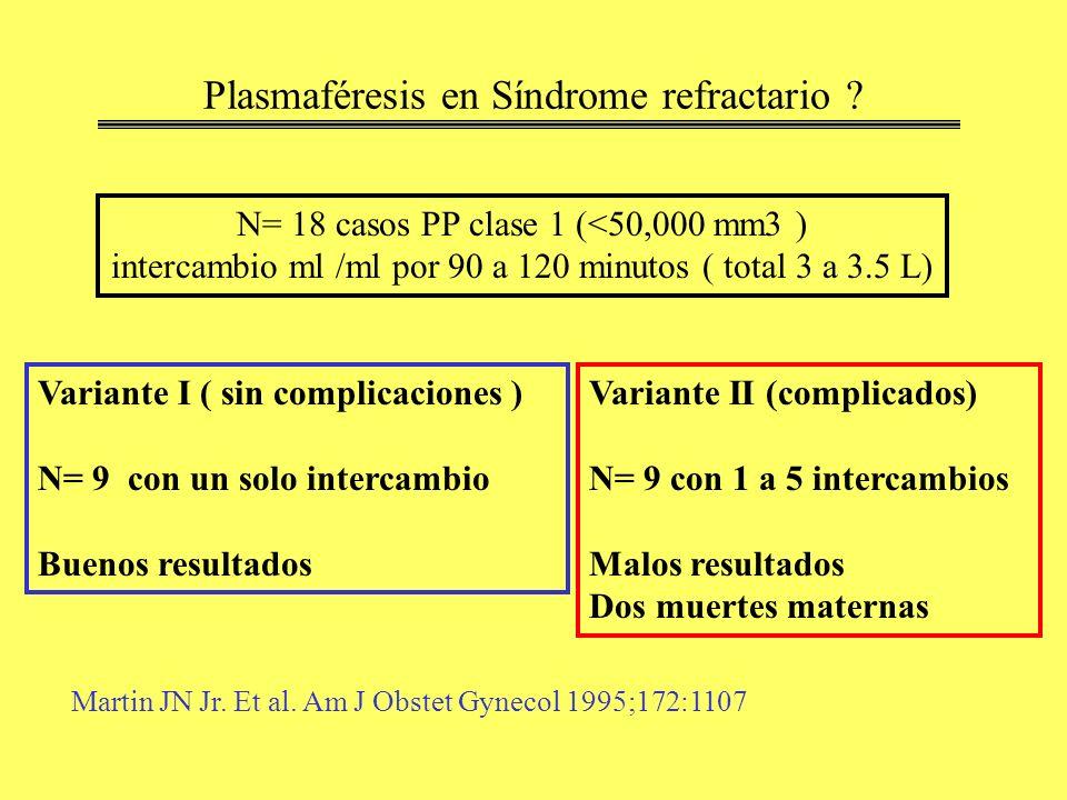 Plasmaféresis en Síndrome refractario ? N= 18 casos PP clase 1 (<50,000 mm3 ) intercambio ml /ml por 90 a 120 minutos ( total 3 a 3.5 L) Variante I (