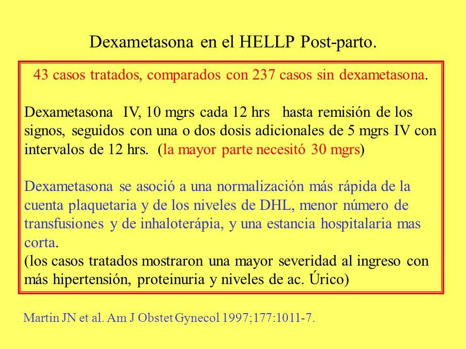 Dexametasona en el HELLP Post-parto. 43 casos tratados, comparados con 237 casos sin dexametasona. Dexametasona IV, 10 mgrs cada 12 hrs hasta remisión