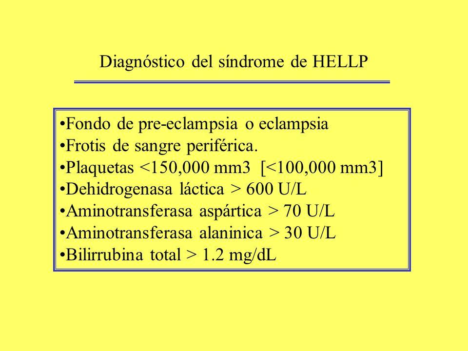 Diagnóstico del síndrome de HELLP Fondo de pre-eclampsia o eclampsia Frotis de sangre periférica. Plaquetas <150,000 mm3 [<100,000 mm3] Dehidrogenasa