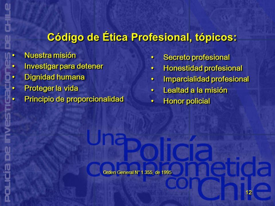 12 Código de Ética Profesional, tópicos: Nuestra misión Investigar para detener Dignidad humana Proteger la vida Principio de proporcionalidad Nuestra