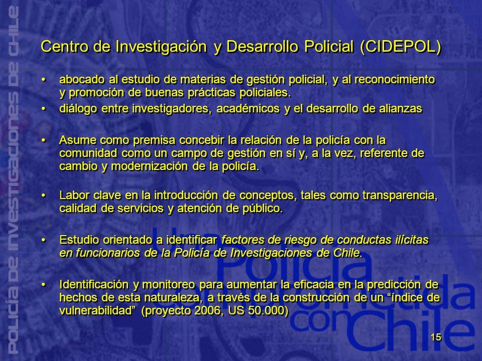 15 Centro de Investigación y Desarrollo Policial (CIDEPOL) abocado al estudio de materias de gestión policial, y al reconocimiento y promoción de buen