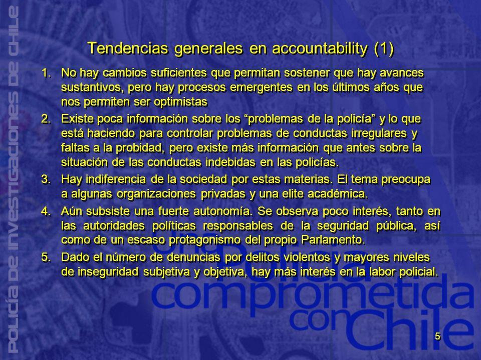 5 Tendencias generales en accountability (1) 1.No hay cambios suficientes que permitan sostener que hay avances sustantivos, pero hay procesos emergen