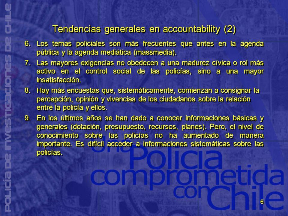6 Tendencias generales en accountability (2) 6.Los temas policiales son más frecuentes que antes en la agenda pública y la agenda mediática (massmedia