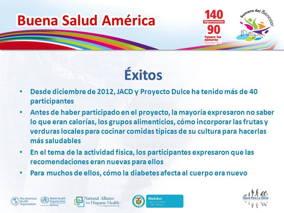 Buena Salud América Desde diciembre de 2012, JACD y Proyecto Dulce ha tenido más de 40 participantes Antes de haber participado en el proyecto, la may