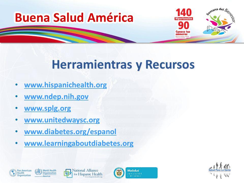 Buena Salud América Herramientras y Recursos www.hispanichealth.org www.ndep.nih.gov www.splg.org www.unitedwaysc.org www.diabetes.org/espanol www.lea