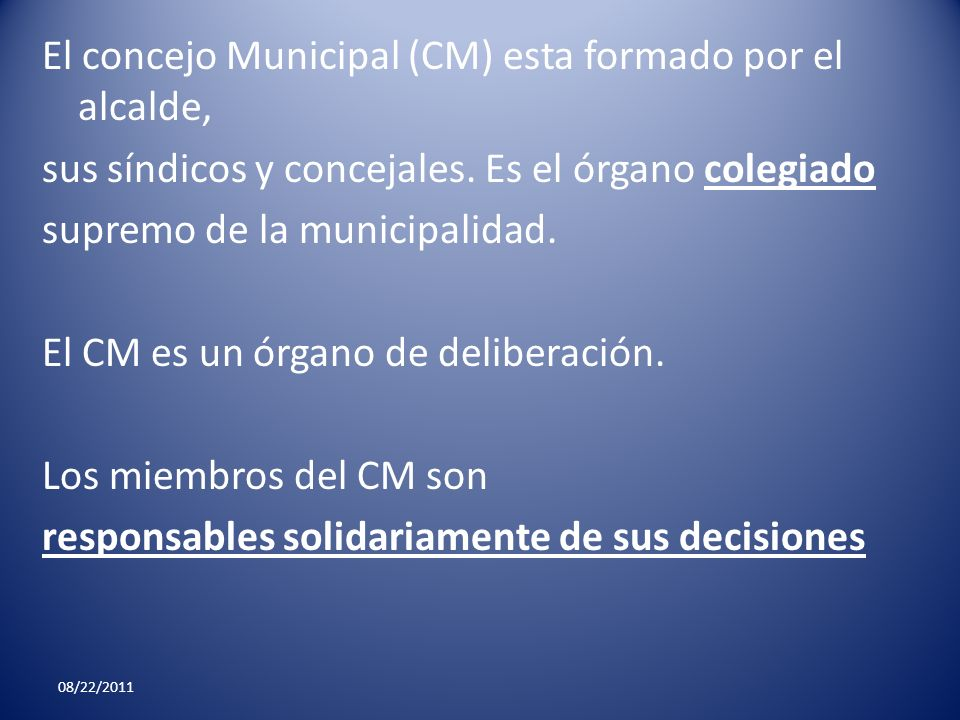 El concejo Municipal (CM) esta formado por el alcalde, sus síndicos y concejales. Es el órgano colegiado supremo de la municipalidad. El CM es un órga