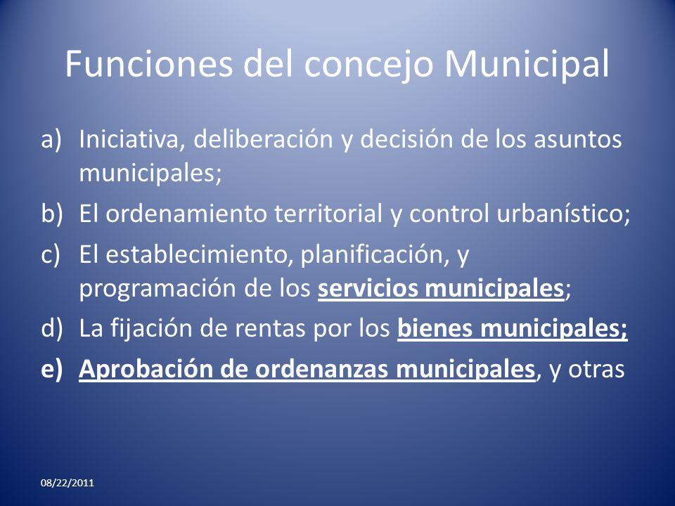 Funciones del concejo Municipal a)Iniciativa, deliberación y decisión de los asuntos municipales; b)El ordenamiento territorial y control urbanístico;