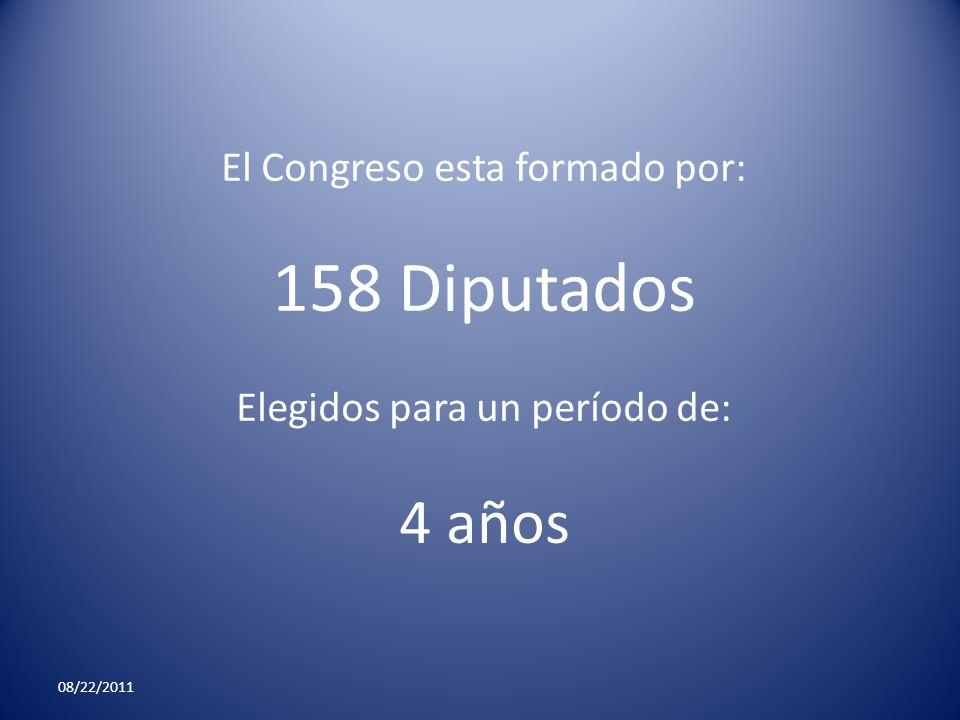 08/22/2011 El Congreso esta formado por: 158 Diputados Elegidos para un período de: 4 años