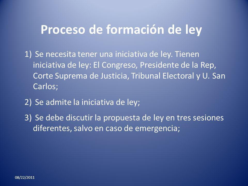 08/22/2011 Proceso de formación de ley 1) Se necesita tener una iniciativa de ley. Tienen iniciativa de ley: El Congreso, Presidente de la Rep, Corte
