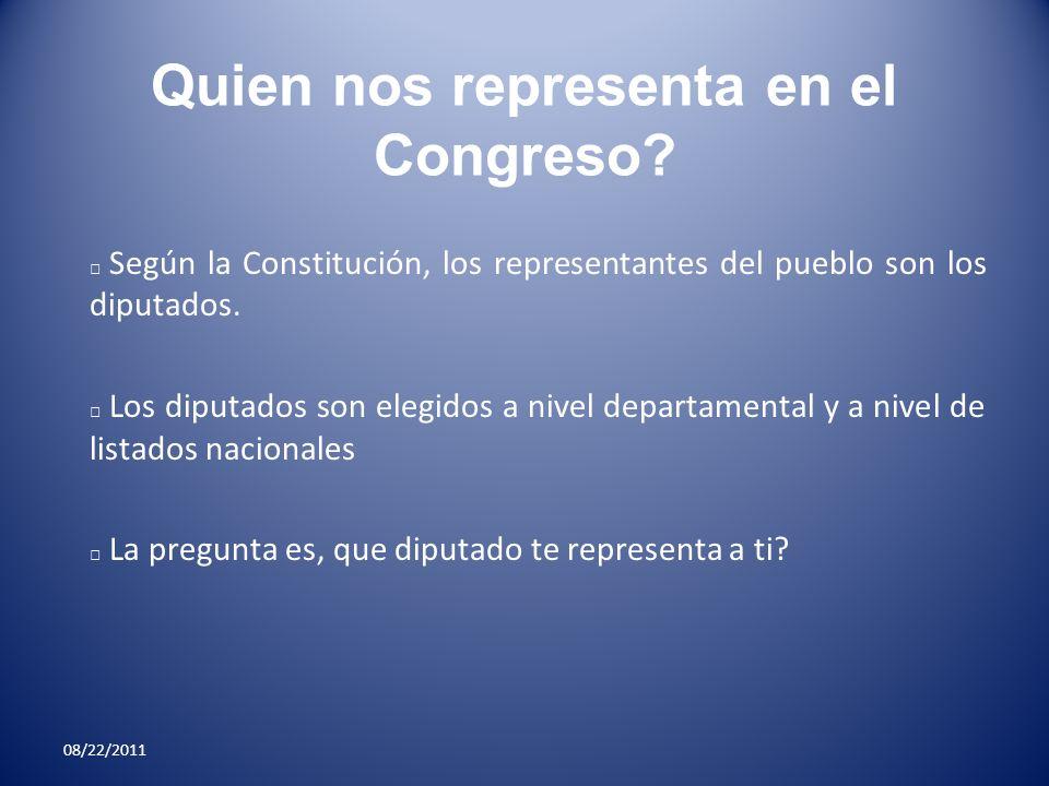 Quien nos representa en el Congreso? Según la Constitución, los representantes del pueblo son los diputados. Los diputados son elegidos a nivel depart