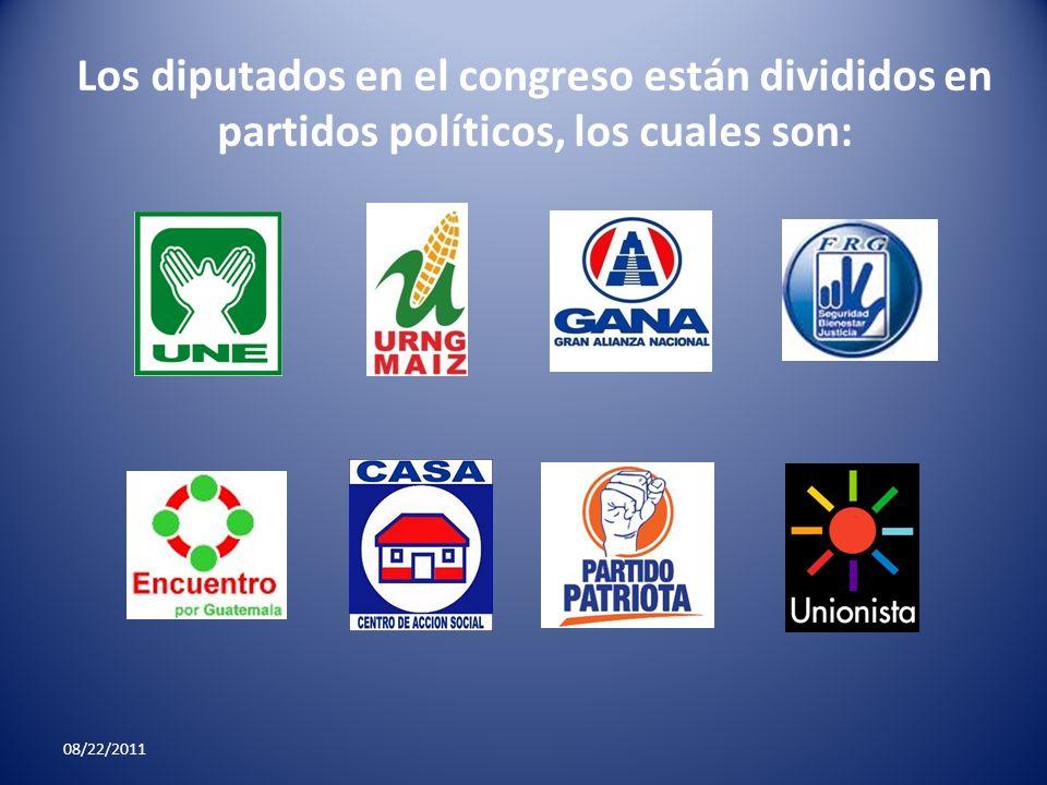 Los diputados en el congreso están divididos en partidos políticos, los cuales son: 08/22/2011