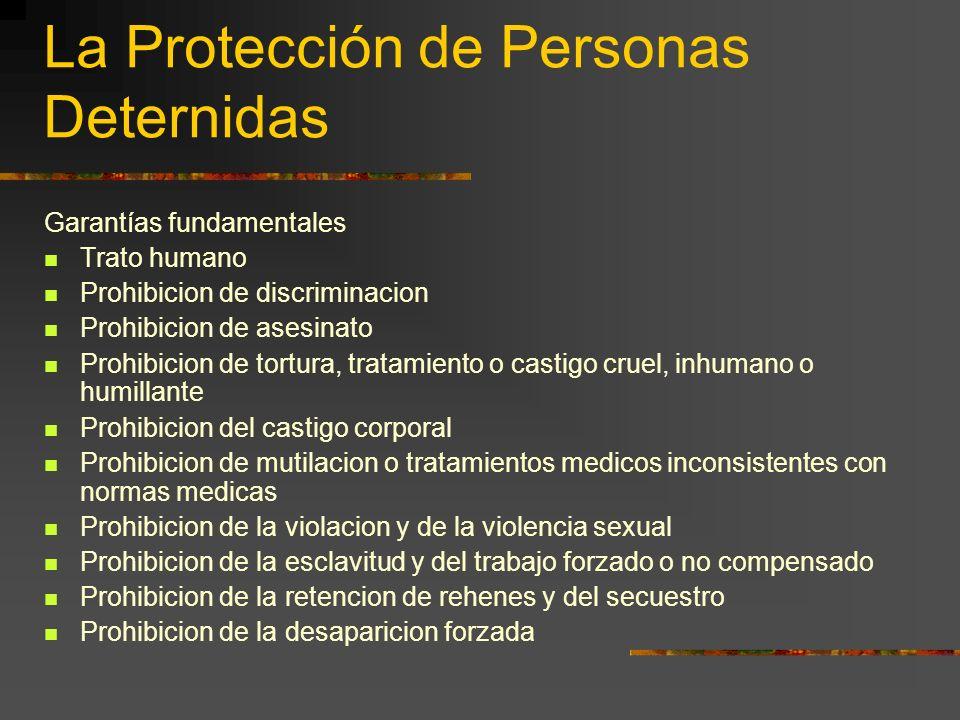La Protección de Personas Deternidas Garantías fundamentales Trato humano Prohibicion de discriminacion Prohibicion de asesinato Prohibicion de tortur