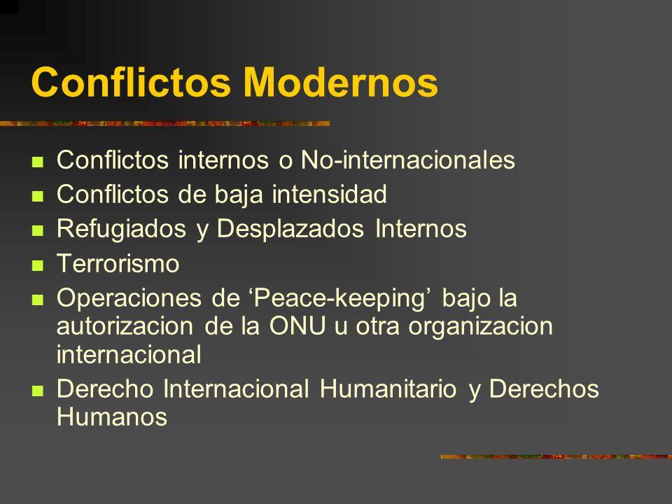 Conflictos Modernos Conflictos internos o No-internacionales Conflictos de baja intensidad Refugiados y Desplazados Internos Terrorismo Operaciones de