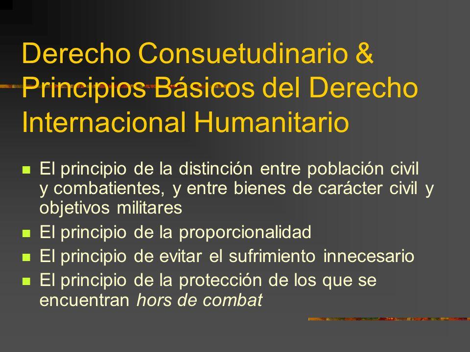 Derecho Consuetudinario & Principios Básicos del Derecho Internacional Humanitario El principio de la distinción entre población civil y combatientes,