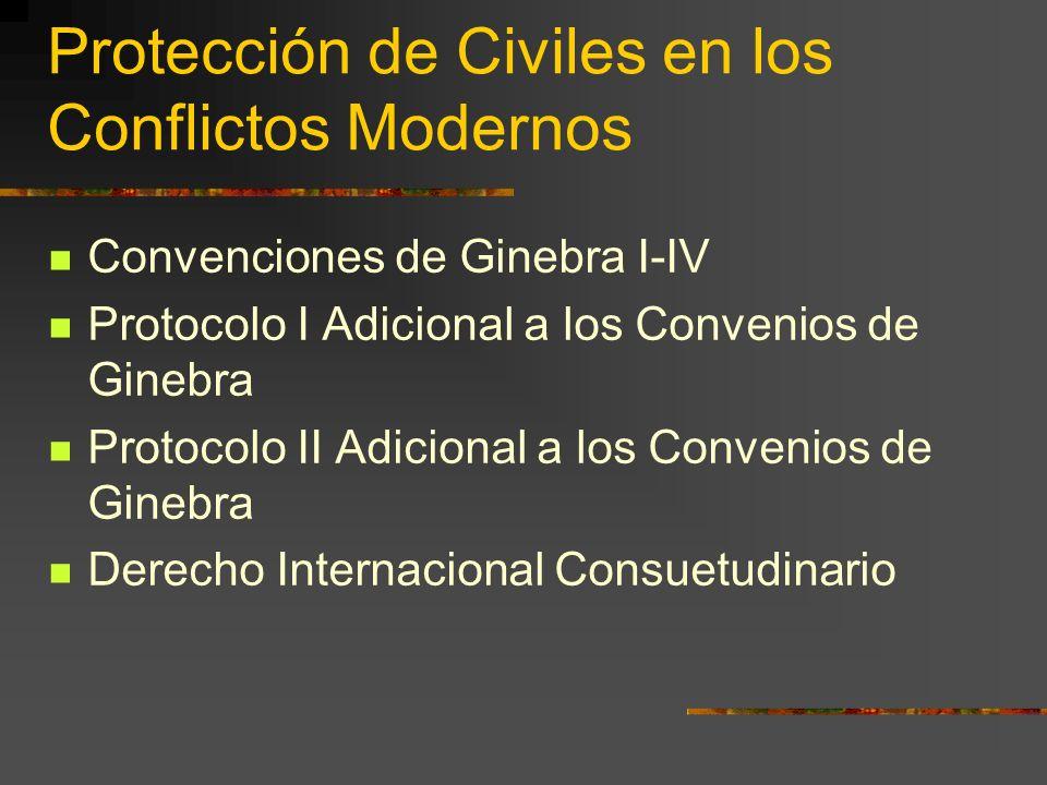 Protección de Civiles en los Conflictos Modernos Convenciones de Ginebra I-IV Protocolo I Adicional a los Convenios de Ginebra Protocolo II Adicional