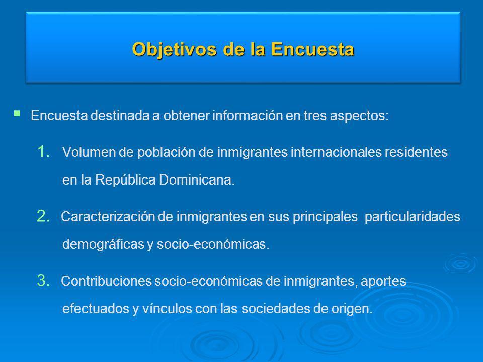 Objetivos de la Encuesta Encuesta destinada a obtener información en tres aspectos: 1. 1. Volumen de población de inmigrantes internacionales resident