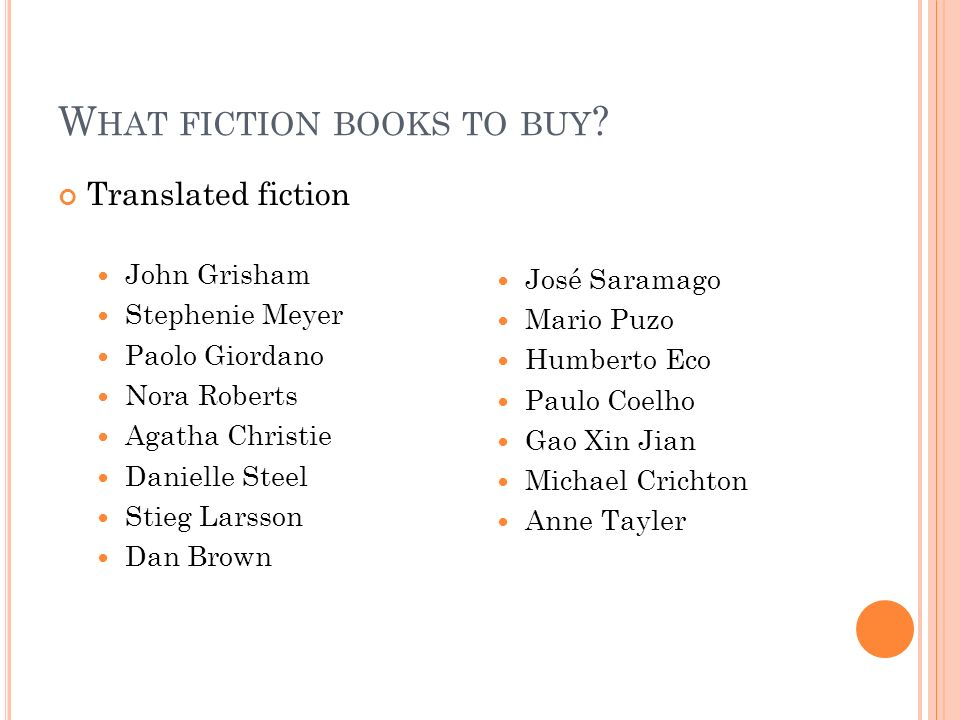 W HAT FICTION BOOKS TO BUY .