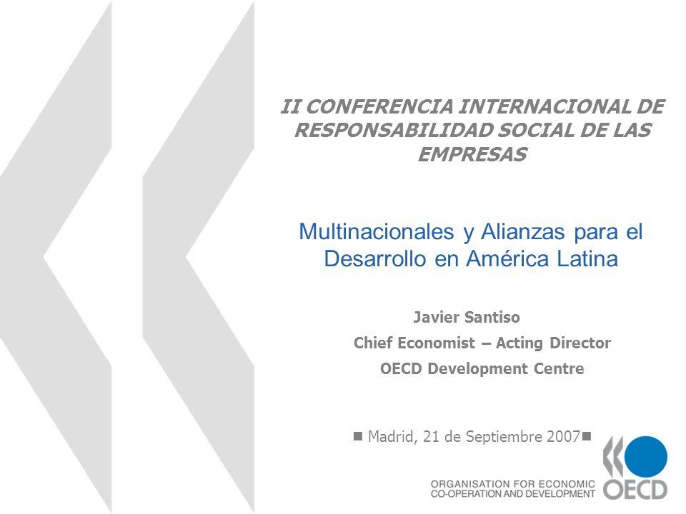 II CONFERENCIA INTERNACIONAL DE RESPONSABILIDAD SOCIAL DE LAS EMPRESAS Multinacionales y Alianzas para el Desarrollo en América Latina Madrid, 21 de S