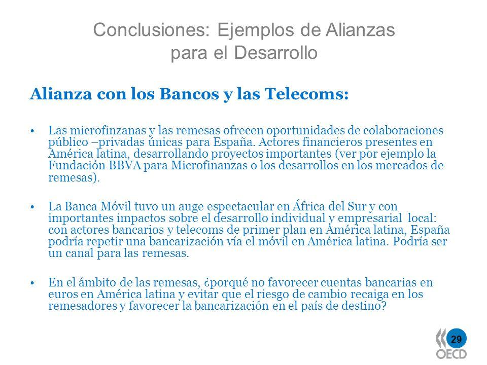29 Alianza con los Bancos y las Telecoms: Las microfinzanas y las remesas ofrecen oportunidades de colaboraciones público –privadas únicas para España